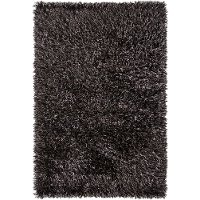 5 x 8 Medium Contemporary Gray and Black Shag Rug - Iris