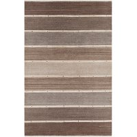 5 x 8 Medium Narrow Striped Brown and Beige Area Rug - Elantra