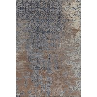5 x 8 Medium Contemporary Gray, Brown and Blue Rug - Rupec