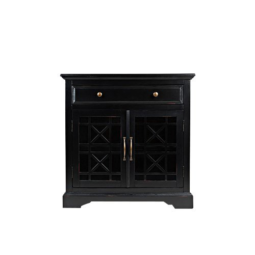 Black 2 Door And 1 Drawer Accent Chest