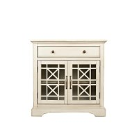 Antique Cream 2 Door and 1 Drawer Accent Chest