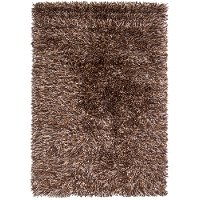 5 x 8 Medium Contemporary Brown and Beige Shag Rug - Iris