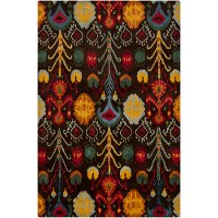 5 x 8 Medium Contemporary Brown, Red and Yellow Area Rug - Rupec