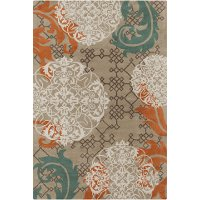 5 x 8 Medium Contemporary Orange and Blue Rug - Stella