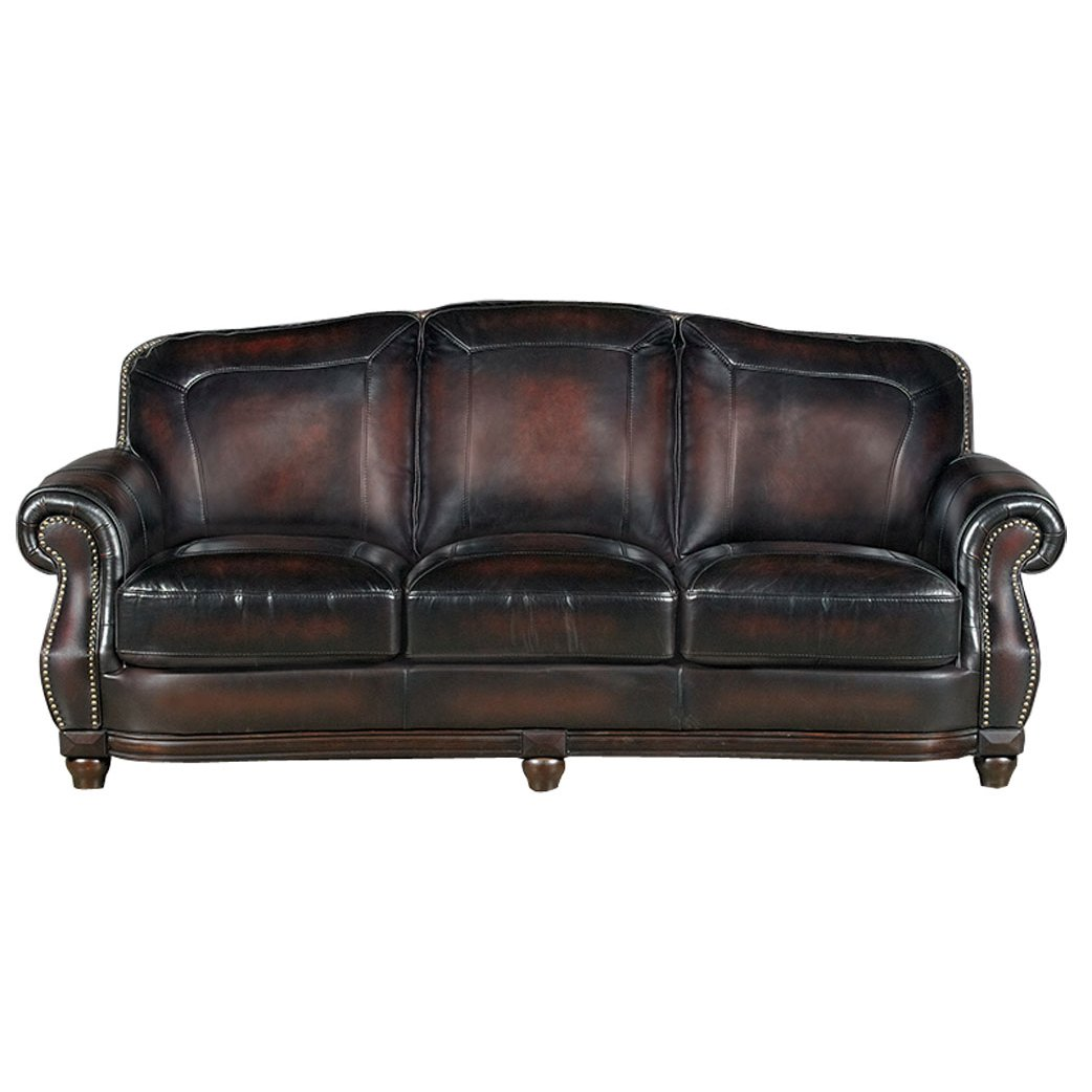 Traditional Burgundy Leather Sofa Heritage RC Willey Furniture