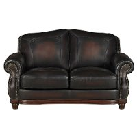 C9110L2889LS/BURG/LV Traditional Burgundy Leather Loveseat - Heritage