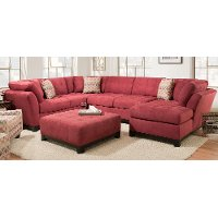 Red Upholstered 3 Piece Casual Contemporary Sectional - Loxley