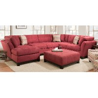 Contemporary Red 3 Piece Sectional Sofa with LAF Chaise - Loxley