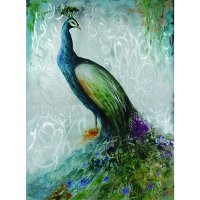 Hand Painted Confident Peacock Canvas Wall Art