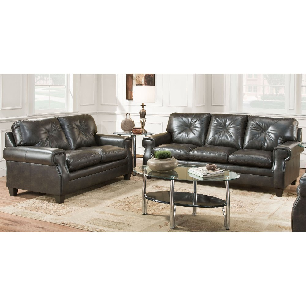 Classic Contemporary Dark Brown 2 Piece Living Room Set - Lucky | RC ...