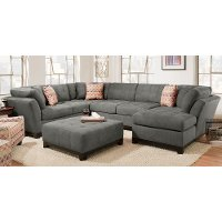 Gray Upholstered 3 Piece Casual Contemporary Sectional - Loxley