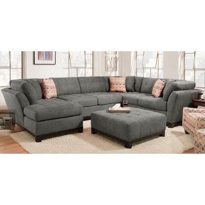 Gray Upholstered 3-Piece Casual Contemporary Sectional - Loxley  sc 1 st  RC Willey : rc willey sectional - Sectionals, Sofas & Couches