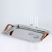 Polished Stainless Steel Rectangle Serving Tray with Handles