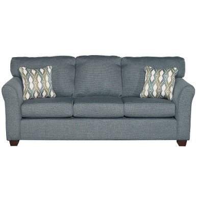 Casual Contemporary Blue Sofa - Wall St.
