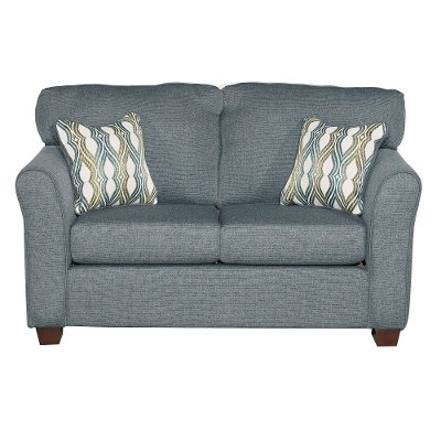 Casual Contemporary Blue Loveseat - Wall St.