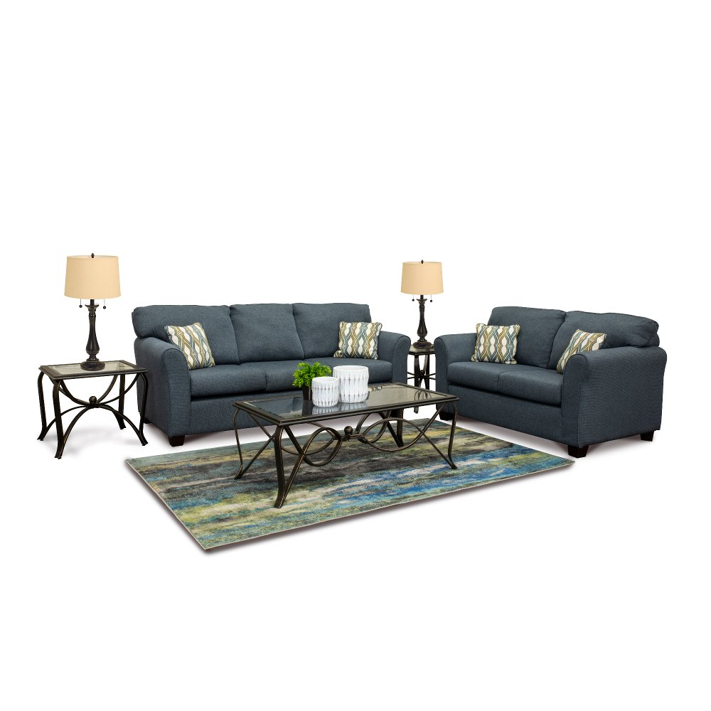 Casual Contemporary Blue 7 Piece Living Room Set - Wall St. | RC ...