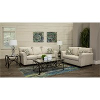 Casual Contemporary Ivory 7 Piece Living Room Set - Wall St.