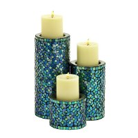 10 Inch Metal Mosaic Candle Holder