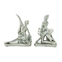 7 Inch Ceramic Silver Dancer Bookend Pair