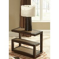 Smokey Tan Modern Chair Side Table - Bennett