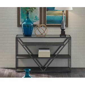 Teal sofa table teal console table with rich stain top by for Sofa table rc willey