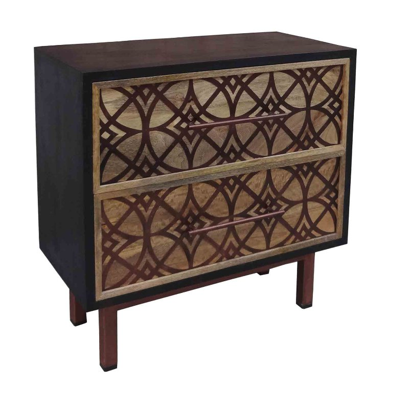 Natural Mango 2 Drawer Chest Cabinet