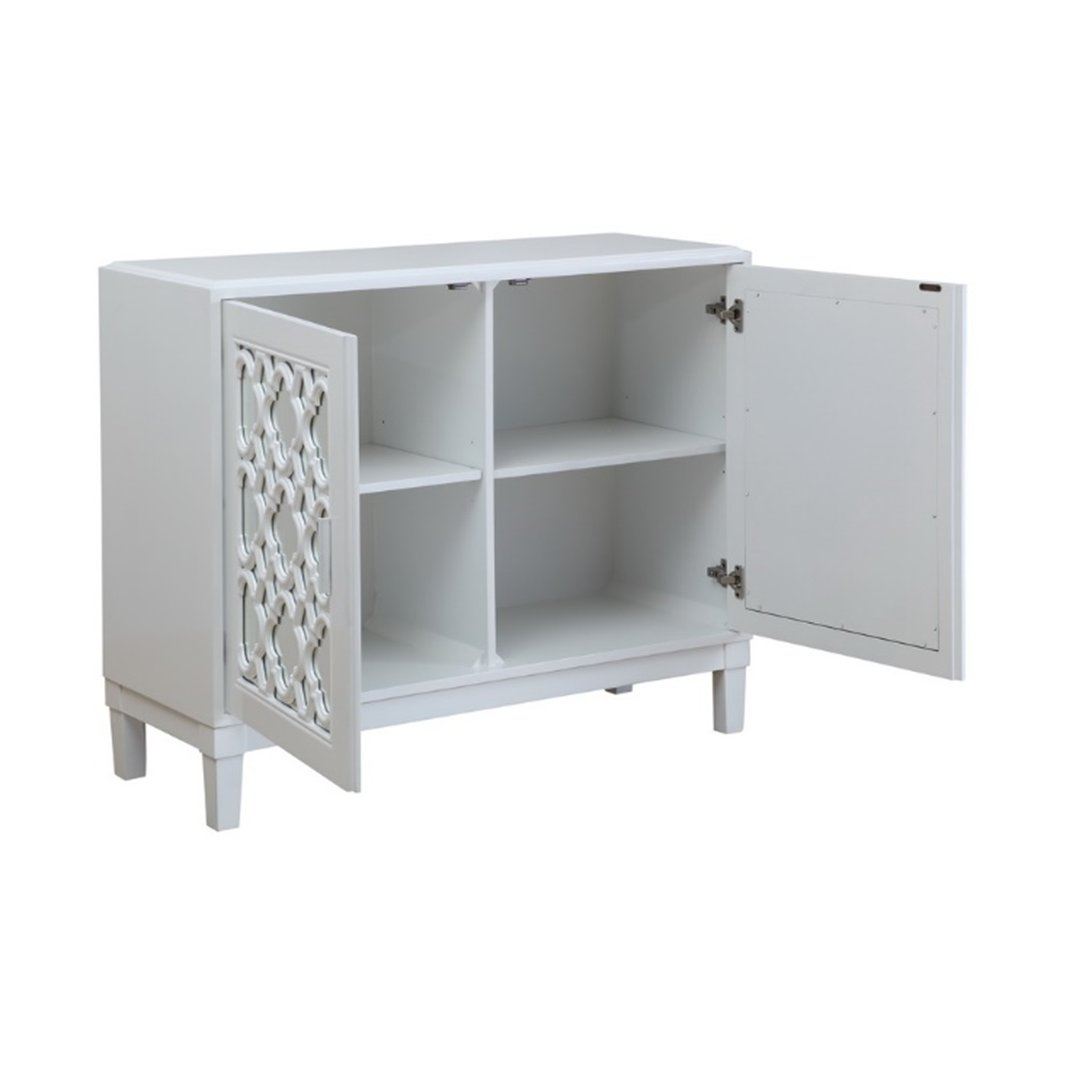 White 2 Door Cabinet With Quatrefoil Fretwork   Park Hills | RC Willey  Furniture Store