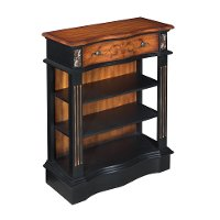 Black and Pecan 1 Drawer Bookcase with 3 Open Shelves