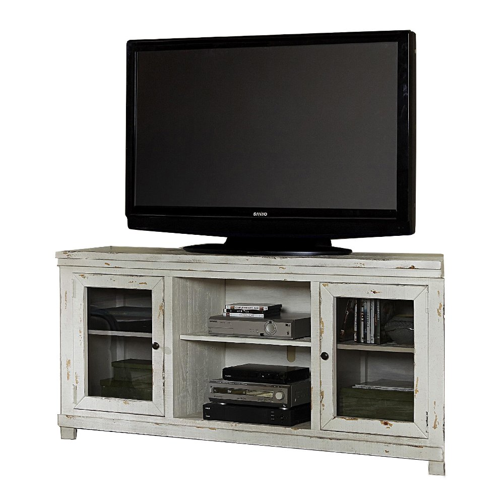 Floor tv stands for 55 inch flat screens -  68 Inch Distressed White Tv Stand Willow