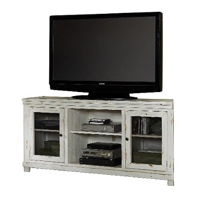 68 Inch Distressed White TV Stand - Willow