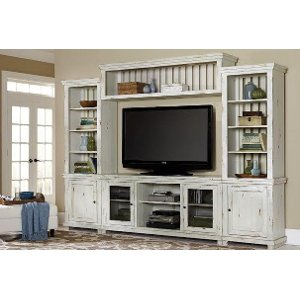 ... 4 Piece Distressed White Entertainment Center   Willow