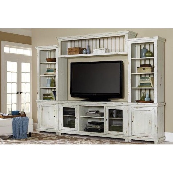 Distressed White 4 Piece Rustic Entertainment Center   Willow | RC Willey  Furniture Store