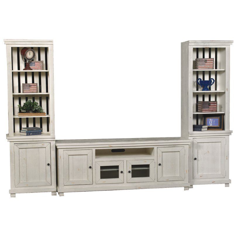 Distressed White 3 Piece Rustic Entertainment Center Willow