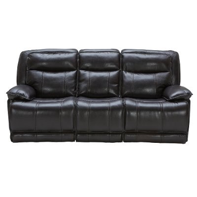 Blackberry Leather-Match Power Triple Reclining Sofa - K-Motion