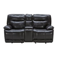 Blackberry Leather-Match Power Glider Reclining Loveseat - K-Motion