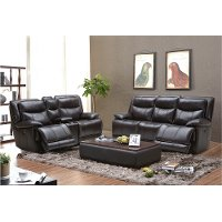 Blackberry Leather-Match Power Reclining Living Room Set - K-Motion