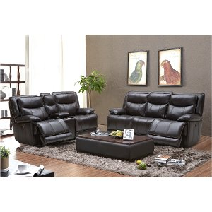 Blackberry Leather Match Power Reclining Sofa Loveseat