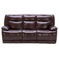 Bordeaux Burgundy Leather-Match Power Triple Reclining Sofa - K-Motion