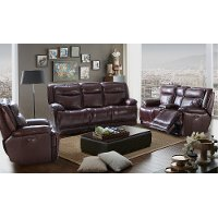 Bordeaux Burgundy Leather-Match Power Reclining Sofa & Loveseat - K-Motion