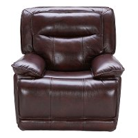 Burgundy Leather-Match Power Recliner - K-Motion