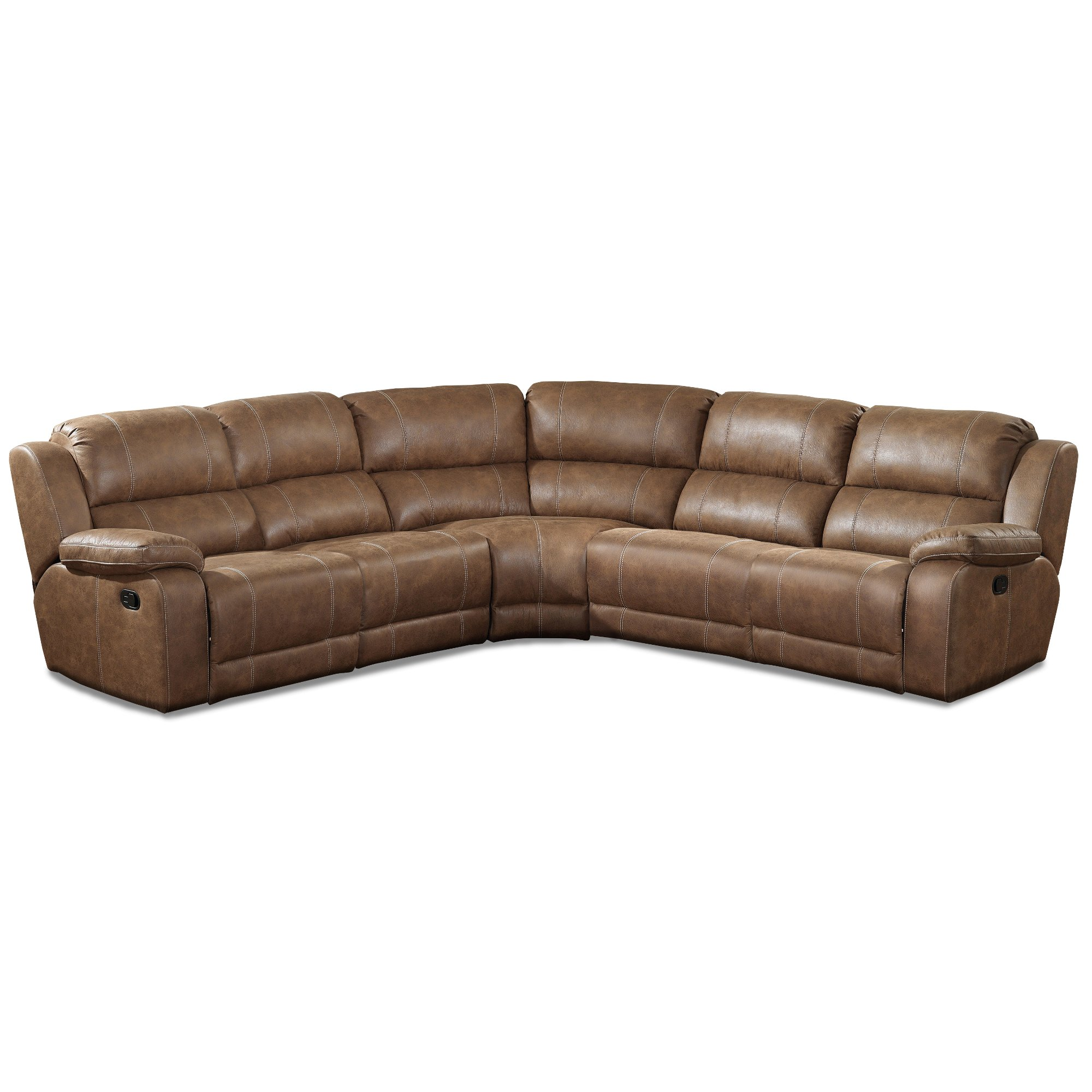 Badlands Saddle Brown 5 Piece Reclining Sectional Sofa   Charlotte