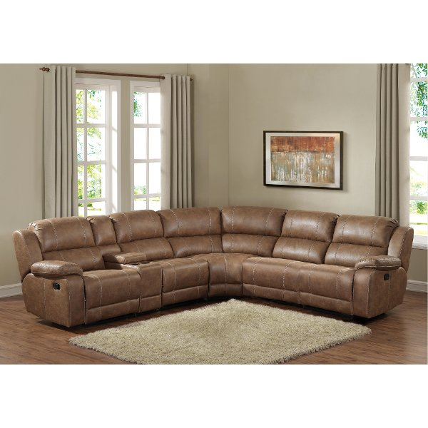 Badlands Saddle Brown 6 Piece Reclining Sectional Sofa Charlotte