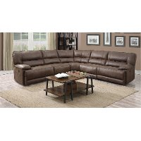 Cognac Brown 5 Piece 3x Manual Reclining Sectional - Kharma