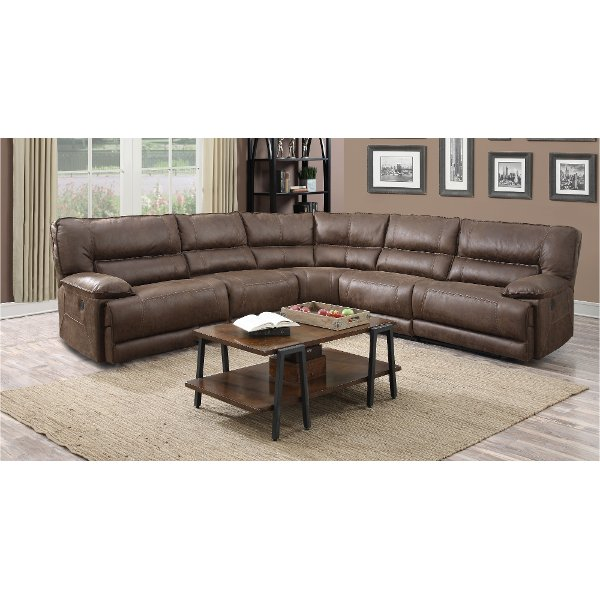 Cognac Brown 5 Piece 2x Reclining Sectional Sofa Kharma