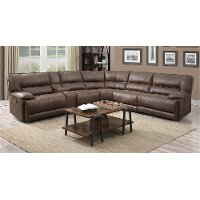 Cognac Brown 6 Piece 2x Power Reclining Sectional Sofa - Kharma