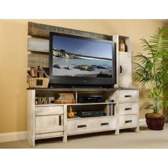 Washed White 3 Piece Coastal Entertainment Center Descanso