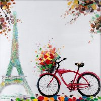 Multi-Color Bike in Paris Acrylic Canvas Wall Art