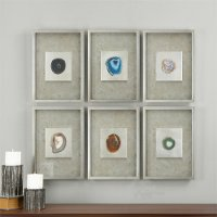 Assorted Agate Stone Framed Wall Art