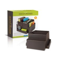 Brown Vinyl Folding Desk Organizer - Essentials