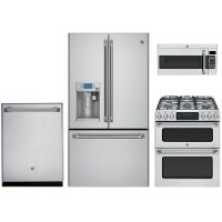 4PC-CAFE'-KEURG-GAS GE Cafe 4 Piece Kitchen Appliance Package - Stainless Steel